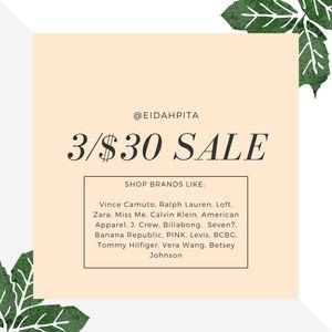 Tops - HUGE SALE 3/$30: Vince Camuto, J. Crew, CK, Zara